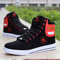 2016 Summer New Arrival Lighted Color High-top Shoes Men Cow Musle Bottom Fashion Shoes Flat Platform Shoes Couple Shoes