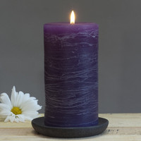 Purple Rustic Pillar Candle 3 x 6""