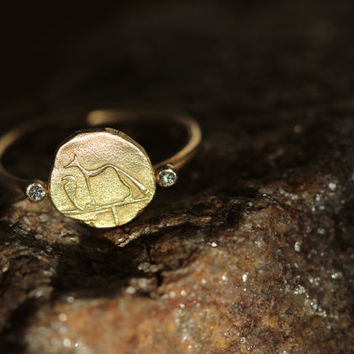 Gold Signet Ring - Dog & Snake Ring - 18k Solid Gold