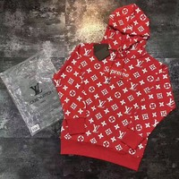 PEAPOP7 LV Supreme Women Fashion Embroidered Tea Red Hooded Sweater