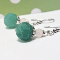 Surgical Steel Green Dragons Vein Agate Earring Dangles
