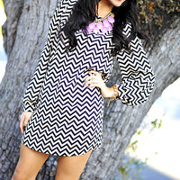 EVERLY: The Zig To My Zag Dress: Black | Hope's