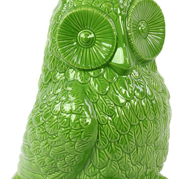 Cute & Adorable Ceramic Owl Figurine in Green