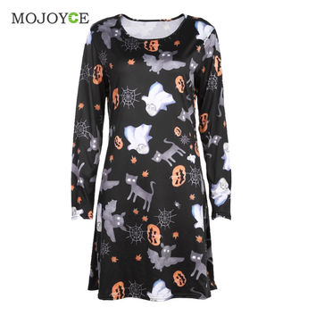 Fashion Women Ladies Halloween Prints Swing Skater Halloween Dress  SN9