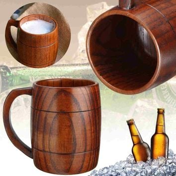 New Wooden Milk Beer Coffee Cup Drink Juice Tea Mug Barrel Mugs Gift Handmade