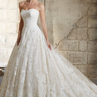 Mori Lee 2787 Strapless Lace Ball Gown Wedding Dress