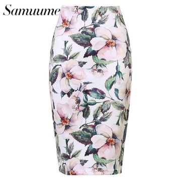 Samuume New Arrivals Women Fashion Floral Print Midi Skirt Simple Lady Tube Bodycon Office Pencil Skirts Saia Femininas A1705063