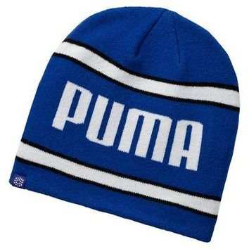 Licensed Golf New Puma  Stripe PWRWARM Beanie Hat Cap 053111 - Surf The Web/White