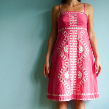 $34.00 Vintage hippie a-line pink dress (small) by moonandsoda