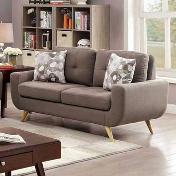 Livvy Contemporary Style Two Seater Tufted Love Seat, Gray