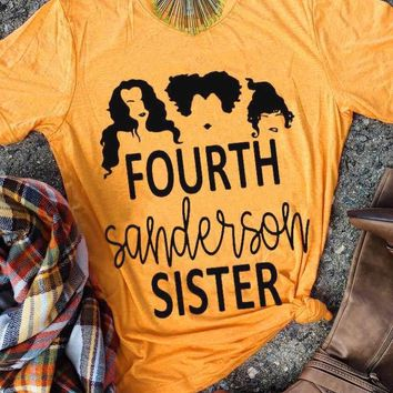 Fourth Sanderson Sister T-Shirt Fourth Slogan Tee Aesthetic Halloween Tumblr Yellow Clothing Tops Casual 90s Aesthetic Outfits