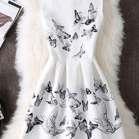 Casual Round Neck Special Butterfly Printed Skater Dress