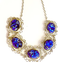 Art Deco Silver Filigree Blue Foil Glass Necklace