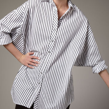 Striped Big Shirt, Women's - Go Silk - White/Black