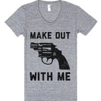 Make Out With Me-Female Athletic Grey T-Shirt