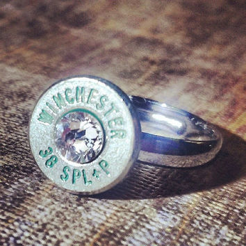 Simplistic Bullet Ring- Nickel with Green Lettering