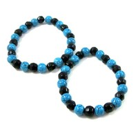 Turquoise blue and black stretch bracelet glass beaded choose size