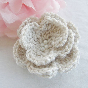 Ready To Ship Beautiful Extra Large Crochet Hair Clip Hair Bow Flower Glass Pearls Wheat Color