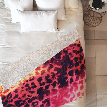 Caleb Troy Leopard Storm Fire Fleece Throw Blanket