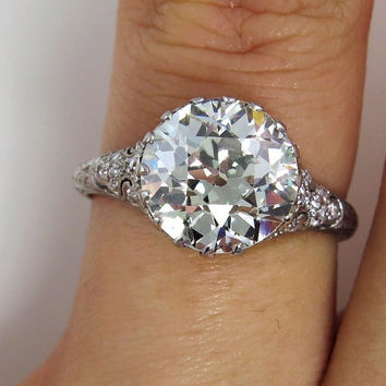 Reserved....Antique Vintage Edwardian 3.52 ct Platinum OLD EUROPEAN Diamond  Engagement Wedding Anniversary Ring, EGL
