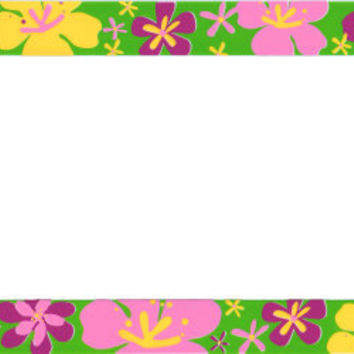 Hawaiian Flowers Plastic License Plate Frame