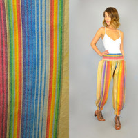 vtg 90s festival GENIE boho hippie RAINBOW Stripe draped Aladdin harem BALLOON pants trousers, extra small-small