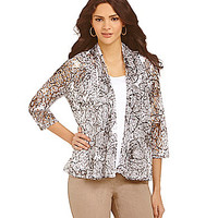 Ruby Rd. Petite Poppy-Print Lace Shawl Collar Cardigan - White/Black P