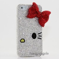 Bling iphone 5 5S 3D Swarovski Luxury Crystal Diamond Case Cover Faceplate Hello Kitty with Red Bow Design (100% Handcrafted by BlingAngels® with Carry Pink Pouch)