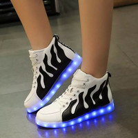 Korean Style Women Led Shoes Glowing Flats For Girls Casual Walking USB Luminous Light Up Fashion Sneakers Summer/spring - ALX-BDS