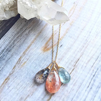 Sunstone Necklace, Briolette necklace, Cluster Necklace. Genuine Sunstone, Moss Amethyst, and Moss Aquamarine briolettes.