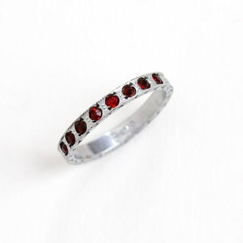 Antique Art Deco Simulated Garnet Silver Tone Eternity Ring - 1920s Size 7 Red Rhinestone Wedding Band Style Costume Jewelry Hallmarked Nemo