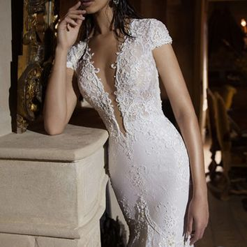 Berta Plunging V-Neck Cap Sleeve Lace Mermaid Gown (In Stores Only) | Nordstrom