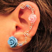 "Non Pierced Ear Cuff  ""Roses are Colorful"" Cartilage Conch Cuff Silver tone Prom"