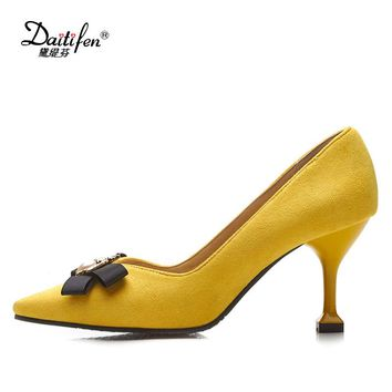Daitifen 2018 Faux suede original design thin high heels shallow women flowers luxury pumps pointed toe brand shoes size 32-48