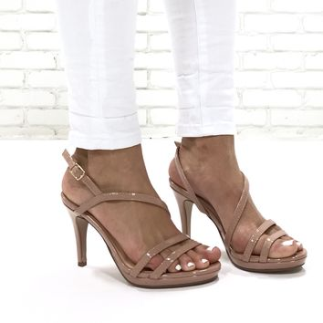 Upgrade Strappy Heels In Mauve Pink