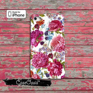 Vintage Floral Wallpaper Carnations Roses Flowers Cute iPhone 4 Case and iPhone 5/5s/5c Case and iPhone 6, 6 Plus, 6s, 6s Plus + Wallet Case