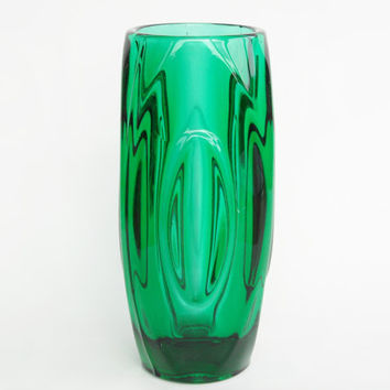 Large Sklo Union Rosice Czech Lens or Bullet Vase Rudolf Schrotter vintage retro glass fifties emerald green 20 cm midcentury modern design
