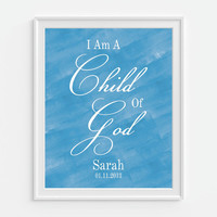 Nursery Print Bible Verse Quote 'Child of God' Watercolor Art Print Wall Decor - Personalized Childrens Art, Girls Wall Decor, Nursery Decor
