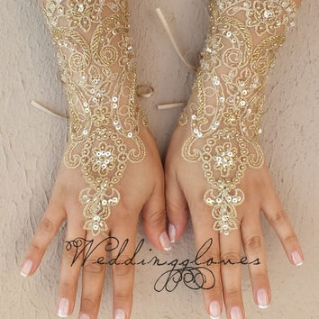 UNIQUE embroidered with gold Wedding Gloves,  lace gloves, Fingerless Gloves, lace gloves, bridal gloves, Free ship