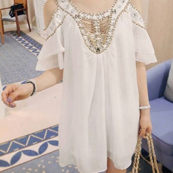 Scoop Neck Off The Shoulder Beaded Chiffon Mini Dress