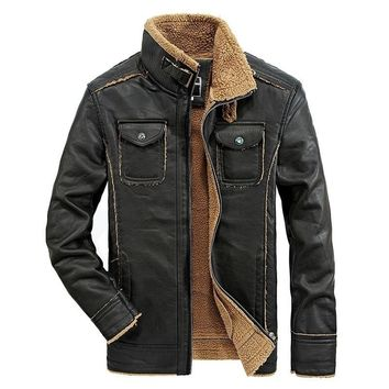 Men's Vintage Sheepskin Jacket Fur Leather Cashmere Shearling Thicken Warm Fleece fur Collar Faux Leather Bomber Coat