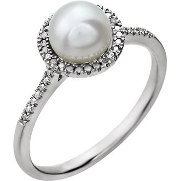 Sterling Silver Pearl & .01 CTW Diamond Halo-Style Ring