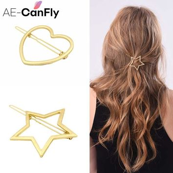 Fashion Women Hair Accessories Gold Color Heart Star Hair Clips Hairpin 2H3007