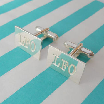 Personalized Initials Rectangle Cufflinks,Silver Rectangle Cufflinks for Groom,Custom Wedding Cufflinks,Gift from Bride