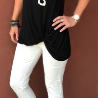 Knotted Tank Top: Black