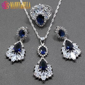 Blue Zircon White Crystal 925 Sterling Silver Women 2017 New Arrival Jewelry Set Ring Size 6/7/8/9/10 Free Gift Box TZ301