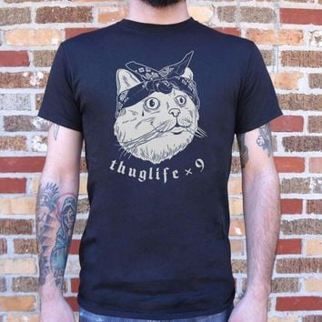Mens Thug Life Cat Times Nine T-Shirt