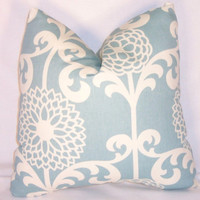 "Sky Blue and White Floral Throw Pillow Waverly Mod Zinnias 17"" Square Cotton Ready to Ship Cover and Insert"