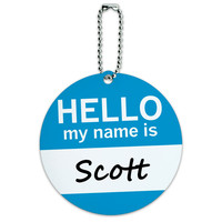 Scott Hello My Name Is Round ID Card Luggage Tag
