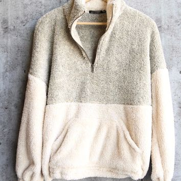 two tone sherpa half-zip pullover - taupe/cream
